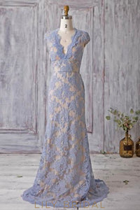 Elegant Lace Scalloped Edge Neck Cap Sleeves Empire Long Sheath Bridesmaid Dress