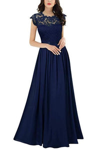 Lace Scalloped Edge Neck Cap Sleeves Floor-Length Sheath Mother Of The Bride Dress