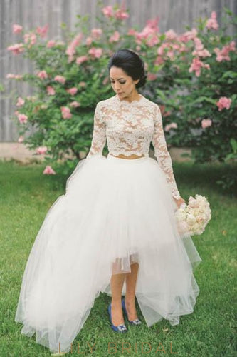 Lace Illusion Scalloped Edge Neck Long Sleeves Zipper-Up Two Piece High-Low Wedding Gowns