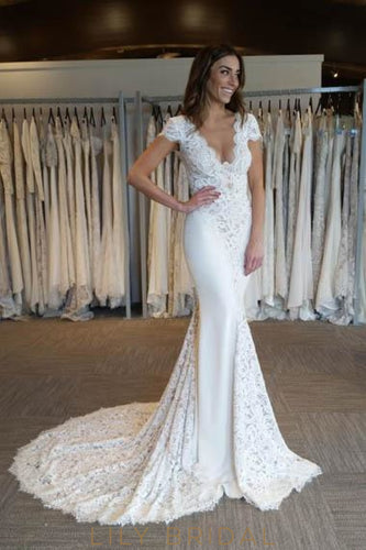 Lace Scalloped Edge Neck Short Sleeves Backless Long Solid Mermaid Wedding Gown