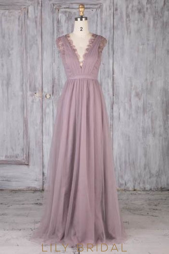 Lace Scalloped Edge Neck Sleeveless Long Solid Ruched Sheath Bridesmaid Dress