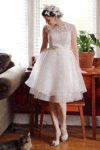 Lace Illusion Scoop Neck Sleeveless Knee-Length Solid Ball Gown Wedding Dress