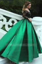 Lace Sequin Illusion Off Shoulder Long Sleeves Floor Length Ball Gown Prom Dress