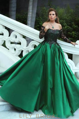 1f0ceb68d88 Lace Sequin Illusion Off Shoulder Long Sleeves Floor Length Ball Gown Prom  Dress