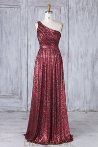 Lace Sequin One Shoulder Sleeveless Long Solid Ruched Sheath Bridesmaid Dress