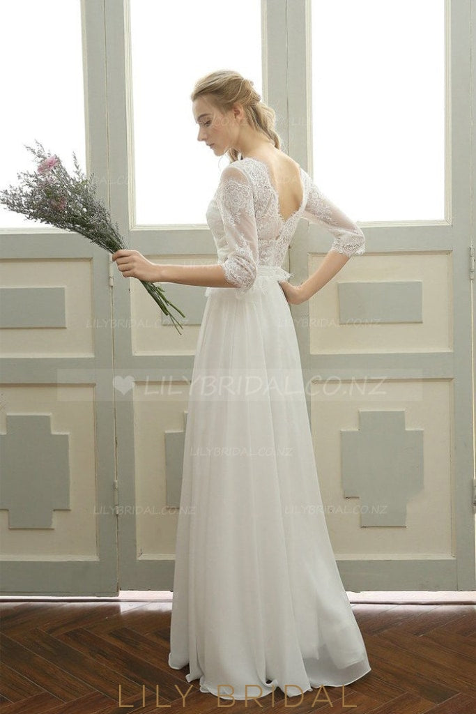 Lace Sheer Bateau Neck Half Sleeves Long Solid Pleated Sheath Chiffon Wedding Dress