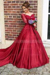 Lace Illusion Sheer Neck Long Sleeves Long Ball Wedding Gown with Court Train