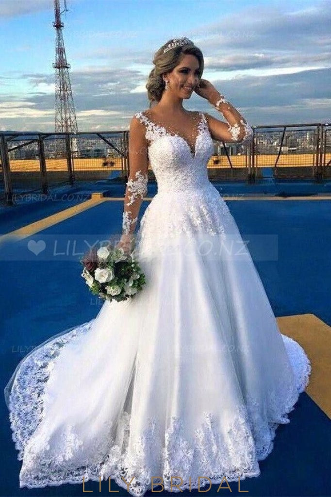 Lace Illusion Sheer Neck Long Sleeves Solid Wedding Gown With Sweep Train