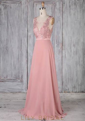 Lace Sheer Neck Sleeveless Backless Long Solid Sheath Chiffon Bridesmaid Dress
