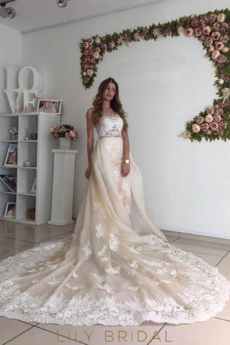 Lace Illusion Sheer Neck Sleeveless Long Organza Wedding Gown with Chapel Train
