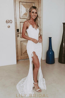 Elegant Lace Spaghetti Straps Sleeveless Long Slit Wedding Dress with Sweep Train