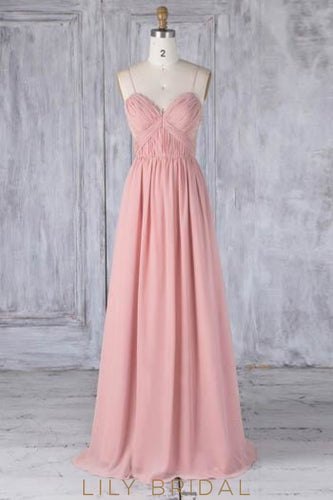 Lace Spaghetti Straps Sleeveless Open Back Long Solid Ruched Chiffon Bridesmaid Dress