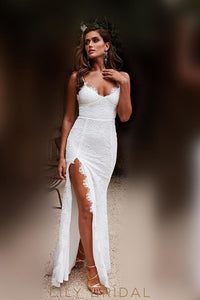 Lace Spaghetti Straps Sleeveless Backless Floor-Length Fit-And-Flare Slit Prom Dress