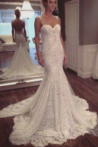 Elegant Lace Spaghetti Straps Sleeveless Backless Long Solid Mermaid Wedding Dress