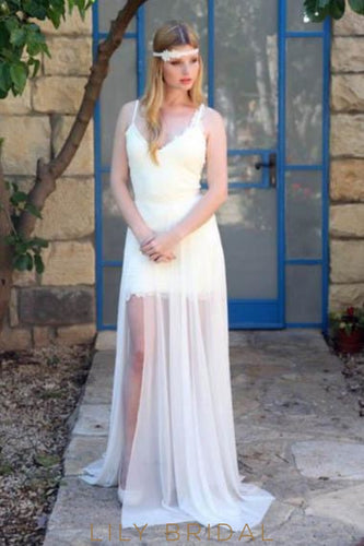 Elegant Lace Spaghetti Straps Sleeveless Backless Long Solid Slit Sheath Wedding Dress