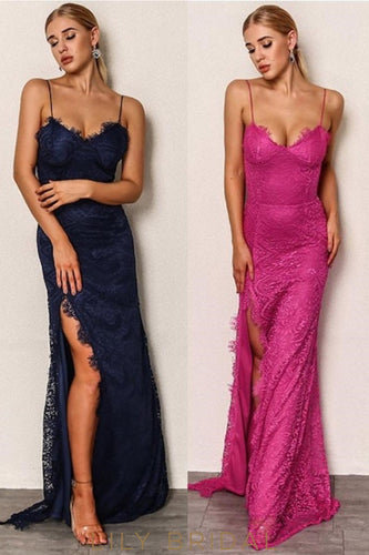 Elegant Lace Spaghetti Straps Sleeveless Long Fit-And-Flare Slit Prom Dress
