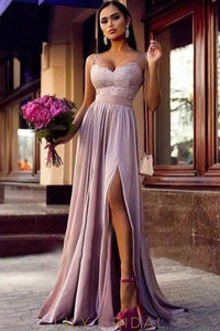 Lace Spaghetti Straps Sleeveless Long Solid Pleated Slit Sheath Bridesmaid Dress