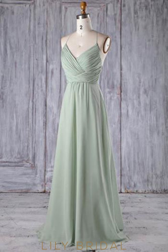 Lace Spaghetti Straps Sleeveless Long Solid Ruched Sheath Chiffon Bridesmaid Dress