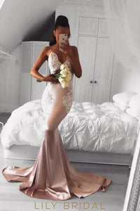 Elegant Lace Spaghetti Straps Sleeveless long Solid Stretch Mermaid Prom Dress