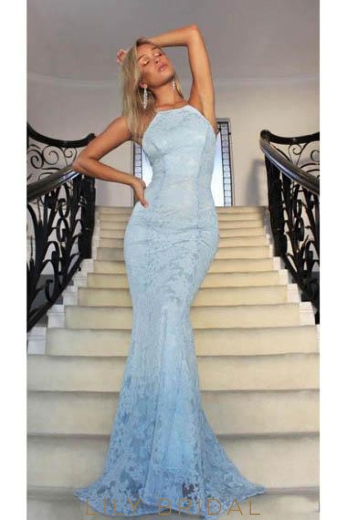 Elegant Lace Spaghetti Straps Sleeveless Long Solid Stretch Mermaid Evening Dress