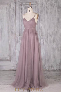 Lace Spaghetti Straps Sleeveless Open Back Long Solid Sheath Tulle Bridesmaid Dress