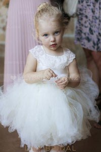 Lace Square Neck Cap Sleeves Tea-Length Solid Tulle Ball Gown Flower Girl Dress