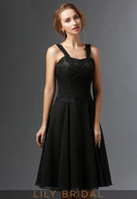 Black Chiffon Sweetheart Knee Length A-Line Mother of the Bride Dresses