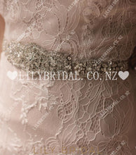 Lace Sweetheart Sleeveless Zipper-Up Long Mermaid Wedding Dress with Rhinestone Belt