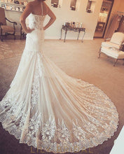Ivory Sweetheart Strapless A-Line Wedding Dress with Court Train