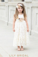 Ivory Lace Jewel Neckline Sleeveless A-Line Flower Girl Dress With Corsage
