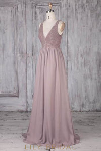 Lace V-Neck Sleeveless Open Back Long Solid Sheath Chiffon Bridesmaid Dress