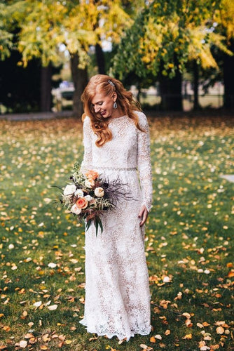 Alluring Lace Wedding Dress Bateau Neck Long Sleeves Backless Long Bridal Dress