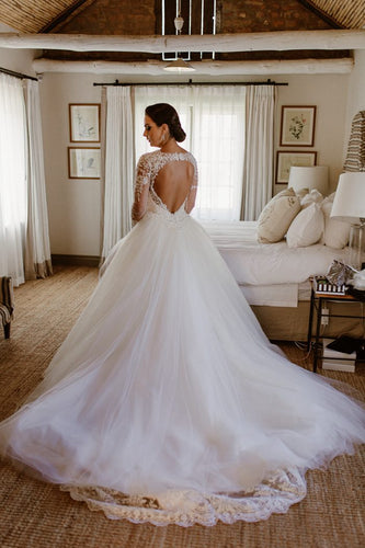Lace Illusion Wedding Dress Scalloped Edge Neck Long Sleeves Open Back Bridal Dress