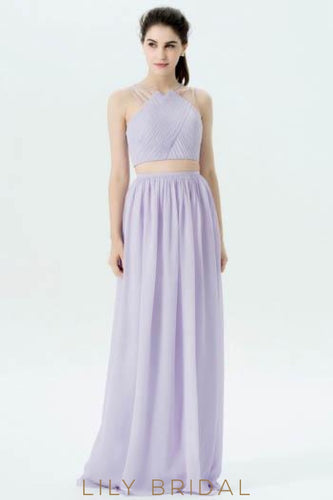 Lavender Chiffon Two-Piece Bridesmaid Dress With Ruched Bodice