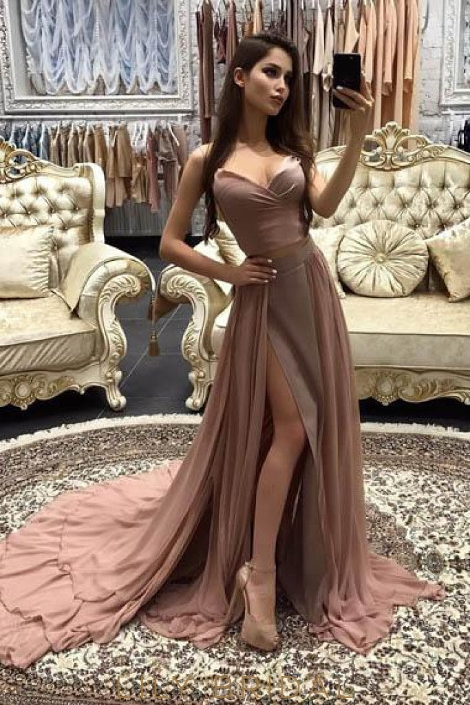 Layers Spaghetti Strap Sleeveless Two Piece Long Split Pleated Sheath Prom Dresses