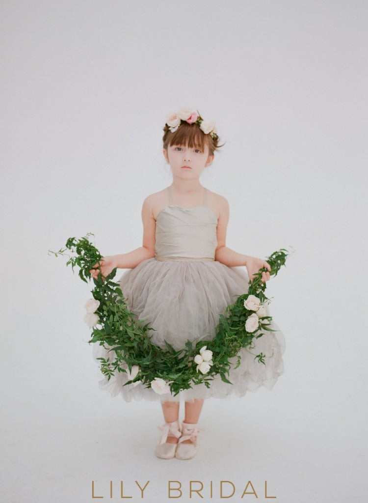 Ball-Gown Spaghetti Strap Tea Length Flower Girl Dress With Satin Bodice