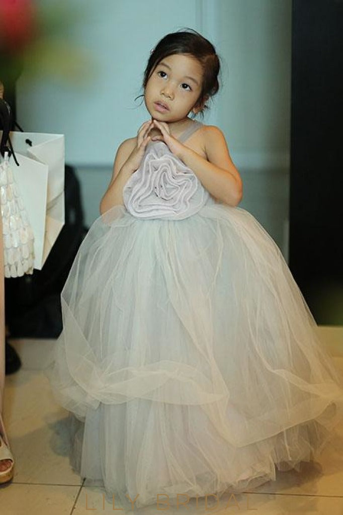 Mint Green Spaghetti Strap Ball-Gown Flower Girl Dress With Hand-Made Flower