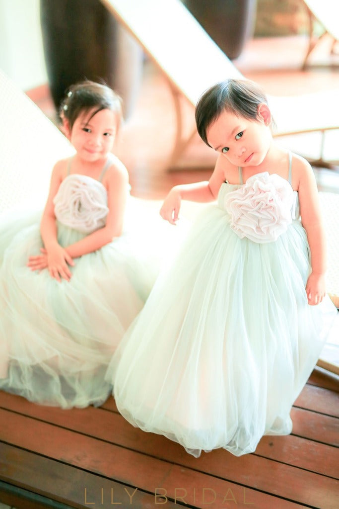 Mint Green Spaghetti Strap Ball-Gown Tulle Flower Girl Dress With Hand-Made Flower