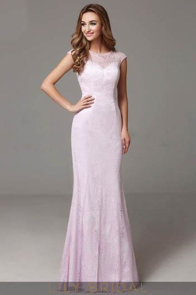 Lilac Cap Sleeve Lace Mermaid Mother of the Bride Dress