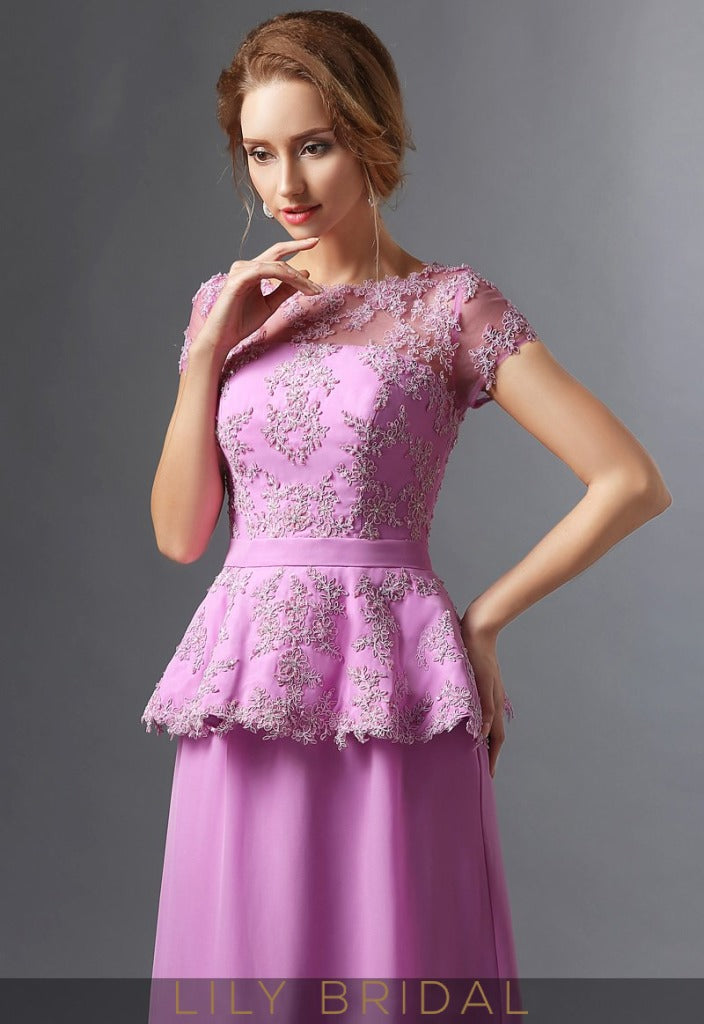 Satin Lace Illusion Bateau Short Sleeve A-Line Mother of the Bride Dresses