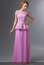 Lilac Satin Lace Illusion Bateau Short Sleeve A-Line Mother of the Bride Dresses