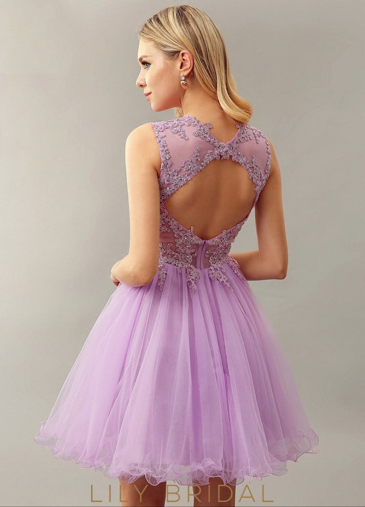 Tulle Lace Sleeveless A-Line Sleeveless Cocktail Dress