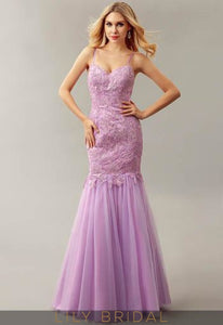 Lilac Strap Tulle Floor-Length Trumpet Evening Dress With Beaded Lace Bodice