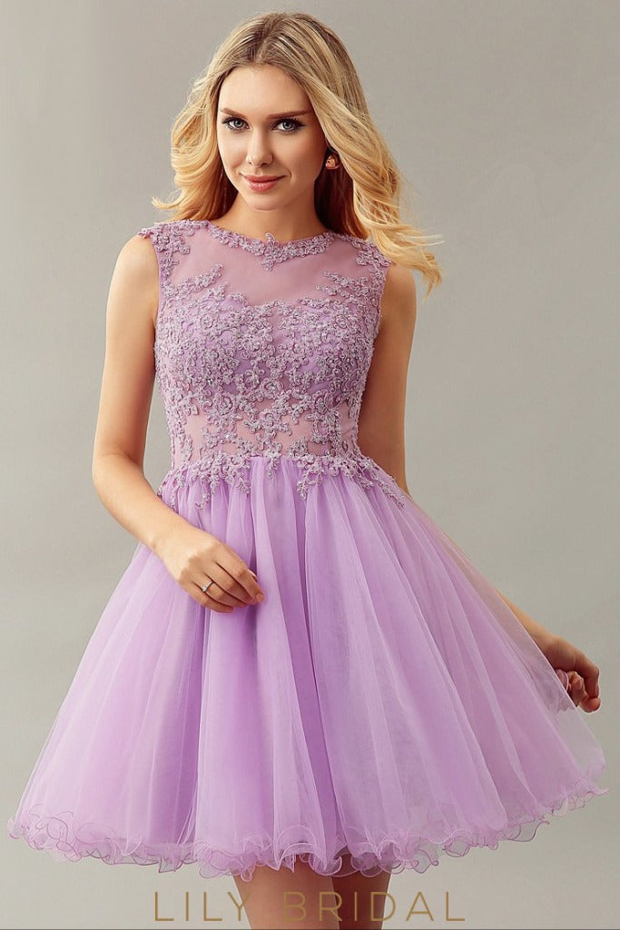 Lilac Tulle Lace Sleeveless A-Line Sleeveless Cocktail Dress