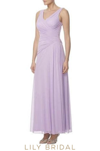 Lilac V-Neck Ankle-Length Chiffon Bridesmaid Dress With Ruching