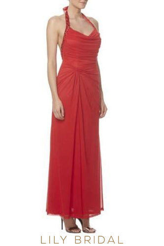Long Backless Halter Ruched Chiffon Bridesmaid Dress With Beads