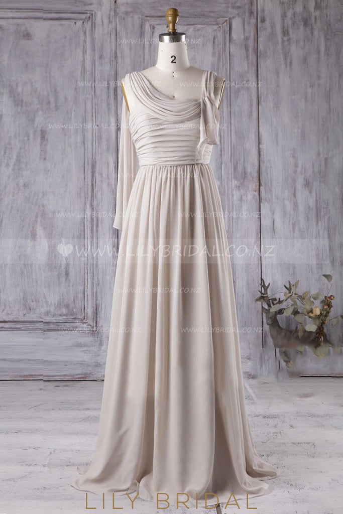 Long Chiffon Bridesmaid Dress With Ruched Bodice