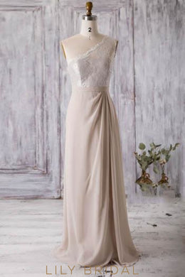 Long Chiffon Bridesmaid Dress With Sheer Lace Bodice