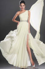 Long One-Shoulder Beaded Split Chiffon Evening Dress With Lace