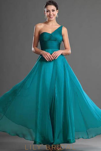 Long One-Shoulder Chiffon Formal Evening Dress With Ruched Bodice